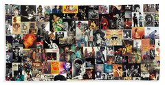 Jimi Hendrix Collage Beach Towel