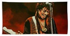 Jimi Hendrix Painting Beach Sheet