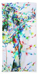 Jimmy Page Playing The Guitar - Watercolor Portrait Beach Towel by Fabrizio Cassetta
