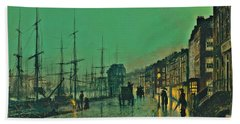 John Atkinson Grimshaw Shipping On The Clyde 1881 Beach Towel by Movie Poster Prints