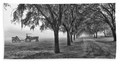 John Deer Tractor And The Avenue Of Oaks Beach Towel