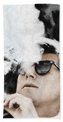 John F Kennedy Cigar And Sunglasses Beach Sheet by Tony Rubino