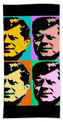 John F Kennedy - Pop Art Color Poster Beach Sheet by Art America Gallery Peter Potter