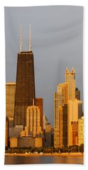 John Hancock Center Chicago Beach Towel by Adam Romanowicz