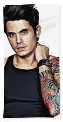 John Mayer Artwork  Beach Towel by Sheraz A