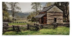 Beach Towel featuring the photograph John Oliver's Cabin In Spring. by Debbie Green