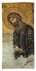 John The Baptist-detail Of Deesis Mosaic  Hagia Sophia-judgement Day Beach Towel