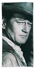 John Wayne Artwork Beach Towel by Sheraz A
