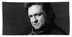 Beach Towel featuring the photograph Johnny Cash Close-up The Man Comes Around Music Homage Old Tucson Az  by David Lee Guss