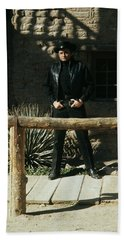 Beach Towel featuring the photograph Johnny Cash Gunfighter Hitching Post Old Tucson Arizona 1971 by David Lee Guss