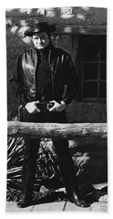 Beach Towel featuring the photograph Johnny Cash Gunslinger Hitching Post Old Tucson Arizona 1971  by David Lee Guss