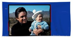 Beach Sheet featuring the photograph Johnny Cash John Carter Cash Old Tucson Arizona 1971 by David Lee Guss