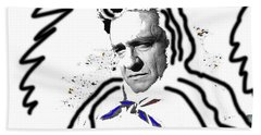 Beach Towel featuring the photograph Johnny Cash Man In White Literary Homage Old Tucson Arizona 1971-2008 by David Lee Guss