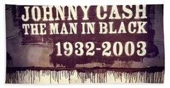 Johnny Cash Memorial Beach Towel by Dan Sproul