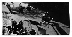 Beach Towel featuring the photograph Johnny Cash Riding Horse Filming Promo Main Street Old Tucson Arizona 1971 by David Lee Guss