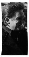 Beach Towel featuring the photograph Johnny Cash Smiling Old Tucson Arizona 1971 by David Lee Guss