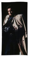 Beach Sheet featuring the photograph Johnny Cash Trench Coat Old Tucson Arizona 1971 by David Lee Guss