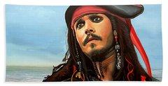 Johnny Depp As Jack Sparrow Beach Sheet by Paul Meijering