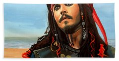 Johnny Depp As Jack Sparrow Beach Towel