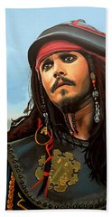 Johnny Depp As Jack Sparrow Beach Towel by Paul Meijering