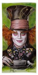 Johnny Depp As Mad Hatter Beach Towel by Melanie D