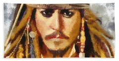 Beach Sheet featuring the painting Johnny Depp Jack Sparrow Actor by Georgi Dimitrov