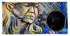 Johnny Winter Painted Guitar Beach Towel