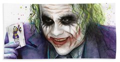 Joker Watercolor Portrait Beach Towel