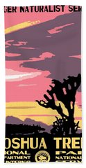 Joshua Tree National Park Vintage Poster Beach Sheet by Eric Glaser