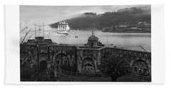 Juan Sebastian Elcano Arrival To The Port Of Ferrol Beach Towel