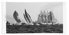Juan Sebastian Elcano Departing The Port Of Cadiz Beach Towel
