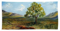 Beach Towel featuring the painting Jubilant Fields by Meaghan Troup
