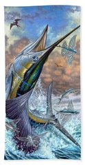 Jumping Sailfish And Flying Fishes Beach Sheet