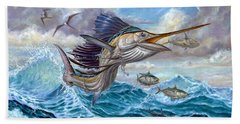 Jumping Sailfish And Small Fish Beach Towel