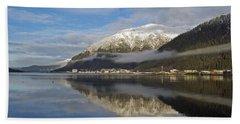 Juneau In Winter Beach Sheet by Cathy Mahnke