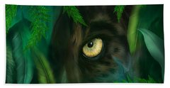 Jungle Eyes - Panther Beach Towel by Carol Cavalaris