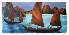 Beach Towel featuring the painting Junks In The Descending Dragon Bay by Tracey Harrington-Simpson