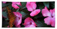 Beach Towel featuring the photograph Just A Small Taste For This Butterfly by Thomas Woolworth