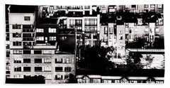 Beach Sheet featuring the photograph Black And White - Juxtaposed And Intimate Vancouver View At Night - Fineart Cards by Amyn Nasser