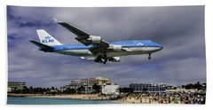 K L M Landing At St. Maarten Beach Towel by David Gleeson