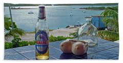 Kalik Beer Bottle At The Front Porch Beach Towel