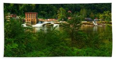 Beach Towel featuring the photograph Kanawha Falls by Dave Files