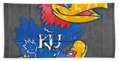 Kansas Jayhawks College Sports Team Retro Vintage Recycled License Plate Art Beach Towel by Design Turnpike