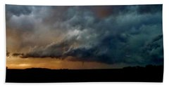 Beach Towel featuring the photograph Kansas Tornado At Sunset by Ed Sweeney