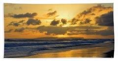 Kauai Sunset With Niihau On The Horizon Beach Sheet by Catherine Sherman