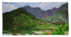 Beach Sheet featuring the painting Kauai Taro Fields by Chad Berglund
