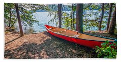 Kayak By The Water Beach Towel