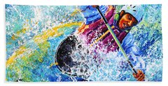 Beach Towel featuring the painting Kayak Crush by Hanne Lore Koehler