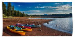 Kayaking On Howard Prairie Lake In Oregon Beach Towel