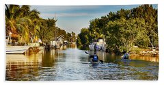 Kayaking The Canals Beach Towel